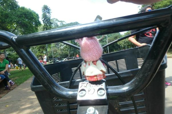 Suzie does Brazil - Suzie on a bike